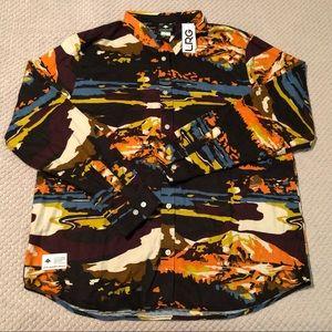 LRG Mountains Long Sleeve Fleece Button Shirt
